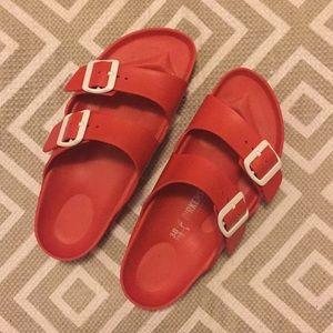 Red Birkenstock Arizona sandals size 38